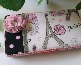 Baby Wipe Case - Paris and Polka Dots Baby Wipe Holder - Padded Baby Wipe Travel Case - Baby Girl's Stylish and Fashionable Baby Wipe Cover