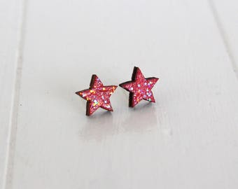 Bright Pink Glittery Wooden Star Stud Earrings - Sparkle pink Star Sterling Silver Studs - Gift for her - Gift for Mum - UK Seller