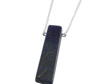 Lapis Rectangle Necklace; Sterling Silver Gemstone Necklace; Blue Gemstone Necklace; Gemstone Jewelry; Lapis Necklace; Lapis Jewelry