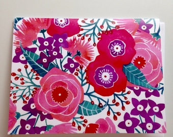 Spring Purple and Pink Floral greeting card 4.25x5.5 blank inside