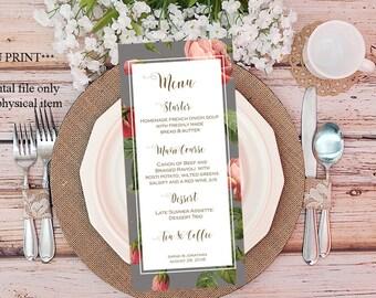 printable custom menu, custom wedding menu, digital custom menu, grey pink wedding menu, roses customized menu, you print