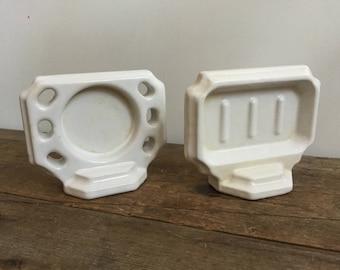 Vintage White Porcelain Bathroom Soap Dish and Toothbrush Holder Wall Mount Shelf