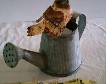 OOAK, Miniature watering can with bird, terrarium, fairy garden, garden