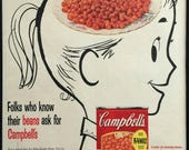 1950's Vintage Framed Print Ad - Campbell's Pork and Beans Girl Mid Century Advertising