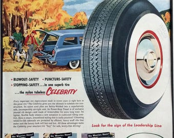 1950's Vintage Framed Print Ad - Kelly Tires Mid Century Advertising