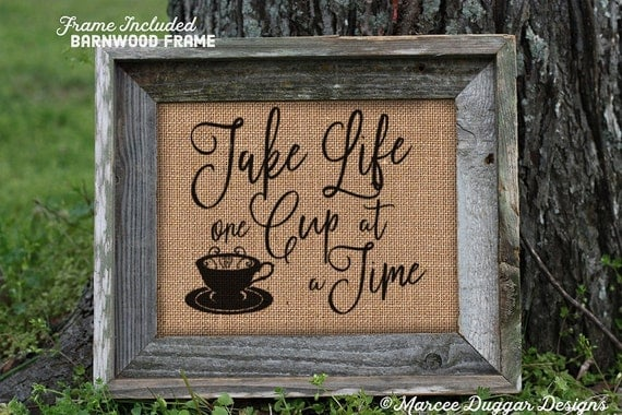 Framed Coffee House | Take Life One Cup at a Time  | Housewarming Gift | Java |  #0214