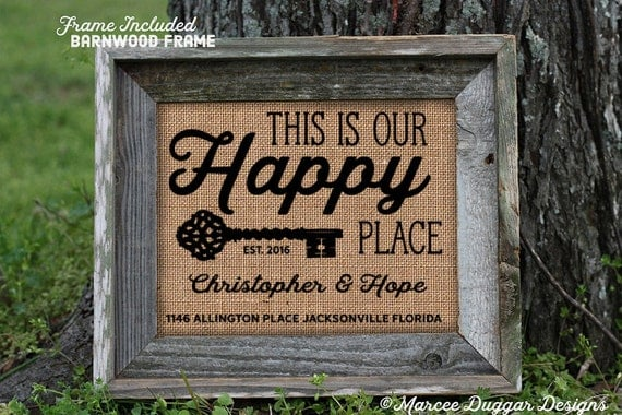 Framed House Warming Gift| New Home | Our Home | Family Name | Est Date | Our Happy Place | City State | House Warming Gift | 262