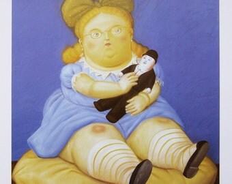 FERNANDO BOTERO - 'La moneca' - limited edition offset lithograph - c1992 (important Columbian artist)