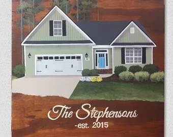 House Painting on Wood//Personalized House Portrait on Wood//Housewarming Gift//First Home Sign//Realtor Closing Gift
