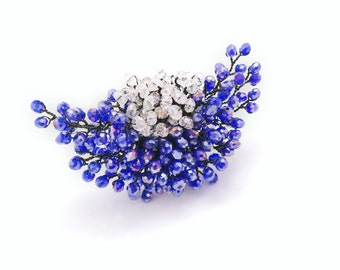 Crystal Ring, Unique Luxury Purple Handmade bagues Beaded Beadwork Statement Bohemian Horizontal Adjustable Oversized Ring, Korean Jewelry