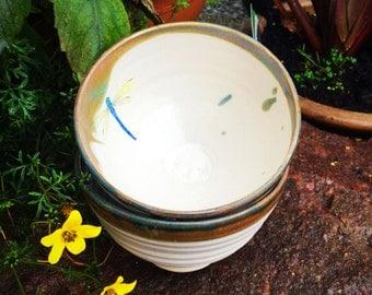 2 dragon fly pottery ceramic stoneware bowl