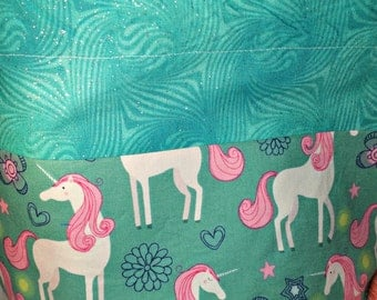 Sock to Shawl WIP Drawstring  Project Bag, Knitting, Crochet, Wedge Bag, Pink Fantasy, White unicorn, Fantasy Print, Fold Over Top/Yarn Bowl