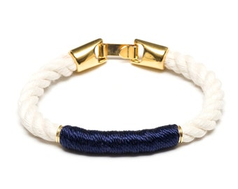 Nautical Rope Bracelet / Ivory Rope Bracelet / Gold Nautical Bracelet / Nautical Jewelry / Nautical Gift / Navy Blue Rope Bracelet
