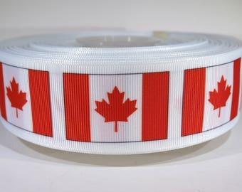 """5 yards of 1.5 inch """"Canada flag"""" grosgrain ribbon"""