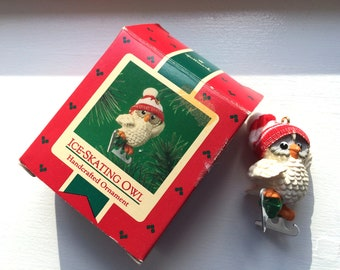Vintage Hallmark Ice Skating Owl Christmas Ornament 1985