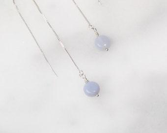 Chalcedony Drop Threader Sterling Silver Earrings