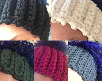 Hand Made Crochet headband, Earwarmer MADE TO ORDER - Curly Girl friendly !
