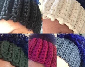 Hand Made Crochet headband, Earwarmer MADE TO ORDER - Curly Girl friendly !