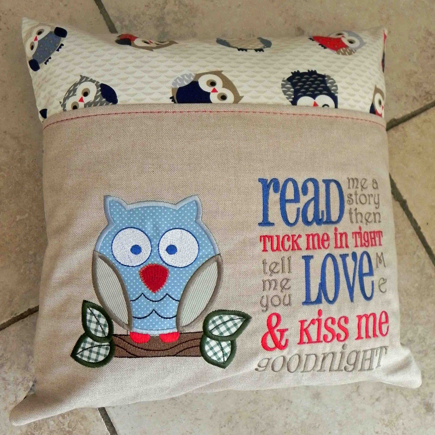 child s cushion with reading book pocket
