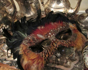 Vintage Handmade Feather Mask Mardi Gras Masquerade Gypsy Owl Feathers Fantasy