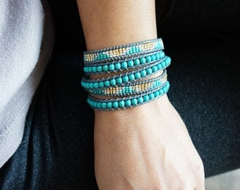 Four Wrapped Bracelet Turquoise and seed bead