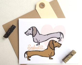 Dachshunds Soulmates Greeting Card
