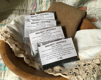 Walnut Crystals. 1 OZ Package. Aging Antique Dye Paper Tags Fabric Wood Ink Calligraphy Powder Distressing Stain Natural Tea Coffee weavers