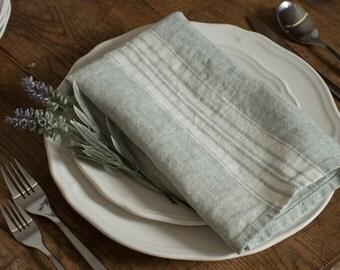 Napkin Stonewashed Linen Spruce with White Stripes