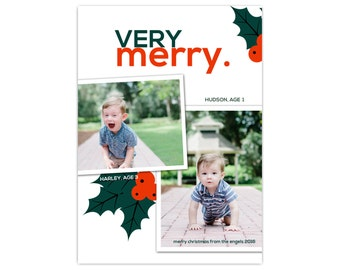 Photo Holiday Cards // Christmas Cards // Christmas Photo Cards // Very Merry Card // 5x7 Printable Christmas Card with Photo // The Engels