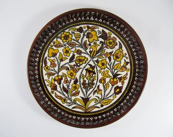 Vintage ARMENIAN Ceramic Plate, Brown & Yellow Hand-Painted Floral Design, Wall hanging Decoration, 10.5""