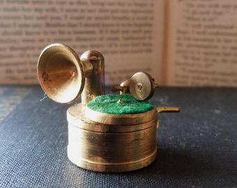 Miniature Vintage Brass Gramophone