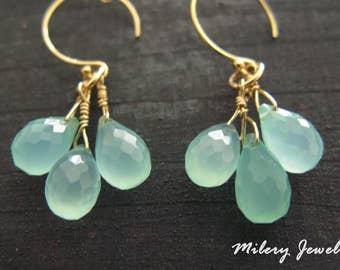 Aqua Chalcedony Cluster Long Dangle Earrings, 14k Gold filled, Birthstone, Chalcedony Earrings, OOAK Jewelry, Delicate