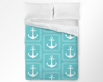 Anchor Duvet Cover, Anchor Bedding, Nautical Duvet Cover, Nautical Bedding, Nautical Bedroom Decor, Beach Bedding, Coastal Bedding