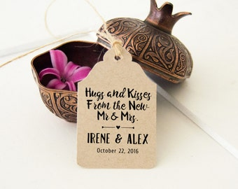 24 Hugs and Kisses From Mr and Mrs, Rustic Wedding Favor Tags,  24 Small Thank You Tags, Custom Printed Tags