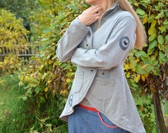 Sweat Blazer frock coat grey sweat cat Sweatshirt