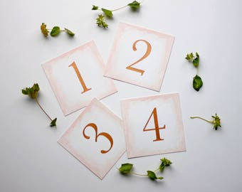 Copper Table Number Cards / Blush Pink Watercolor / Wedding Stationery