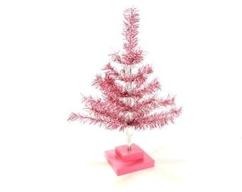18'' Pink Barbie Tinsel Christmas Feather Tree Tabletop Display Tree Merchandising Christmas Tree