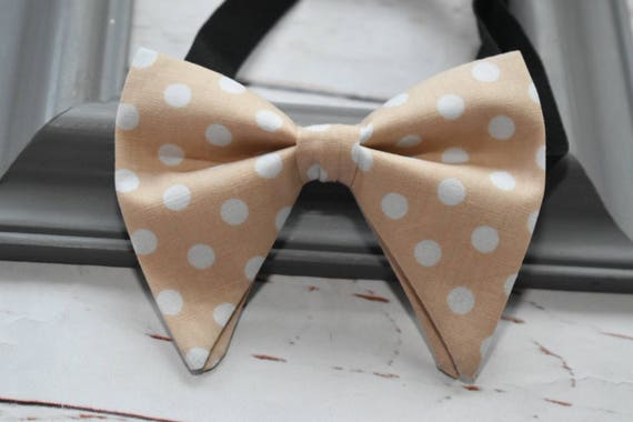 Beige and white  polka dot butterfly / floppy Bow Tie  for Baby, Toddlers and Boys (Kids Bow Ties) with Braces/ Suspenders