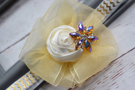 Ivory and gold special occasion hairband - Baby / Toddler / Girls / Kids Elastic Flower  / rosette / barette / Headband / photo prop /