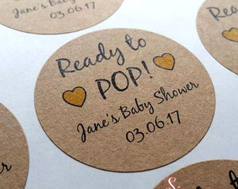 Ready to Pop! Personalised Baby Shower Favor Kraft Brown Stickers