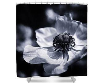 Giant Blooming Flowers Anemone Photo Art Shower Curtain, Botanical Photo Art Bathroom Decor,Fine Art Photography, Bath Curtain, Nature