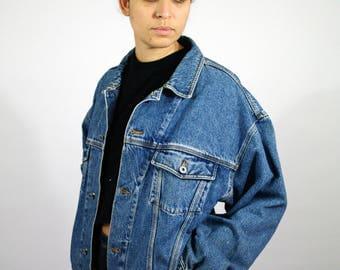 """Vintage 90s NAF NAF Jean Denim """"Bomber Style"""" Jacket Blue Dark Blue  Women Womens L Large"""