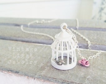 Small White Metal Birdcage Necklace with Tiny Bird and Light Soft Pink Rose Charm