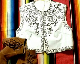 White Leather Cropped Vest Embroidered with Orange Rhinestones Western Boho Cowgirl Rodeo Bohemian Gypsy Top