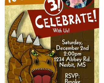 Dinosaur Birthday Party Invitation With Child's Picture