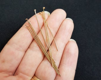 50 x pc's of Gold Electroplated Tarnish Resistant  50mm Head Pins