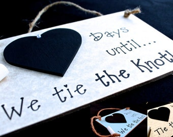"Engagement gift Idea. Wedding Countdown Sign, ""Days Until..We Tie The Knot!"" (Gray) Engagement Gifts for couples, Engagement Present"