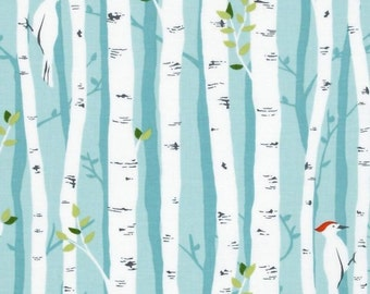 Pair Drapery Curtain Panels Michael Miller Backyard Baby Birch Forest Aqua Blackout Lined for baby room, nursery, living room, boys room