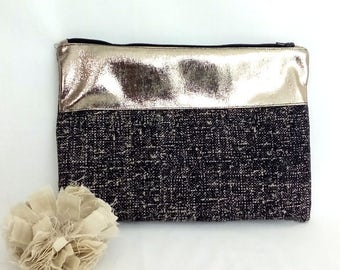 Cover GM - mottled black cotton and gold band