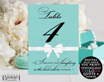 Audrey Hepburn quote printable, Table numbers with quotes, breakfast at co blue personalized, bridal wedding shower digital 5x7 {1-10}